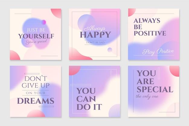 Gradiente citas inspiradoras conjunto de publicaciones de instagram