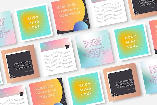 Gradiente citas inspiradoras paquete de publicaciones de instagram