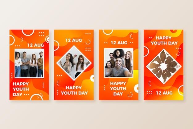 Gradiente colección de historias del día internacional de la juventud con foto.