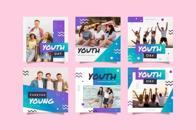 Gradiente colección de publicaciones de instagram del día internacional de la juventud con foto