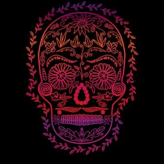 Gradiente de color del cráneo sobre fondo negro, símbolo de la imagen del día de los muertos