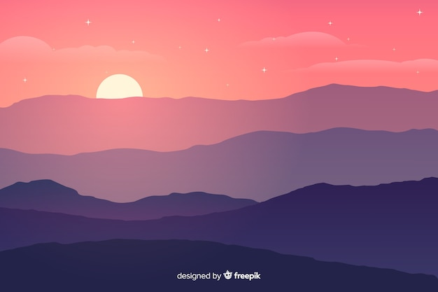 Gradiente de colores montañas con sol brillante