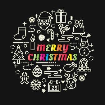 Gradiente de colores de navidad con iconos de línea
