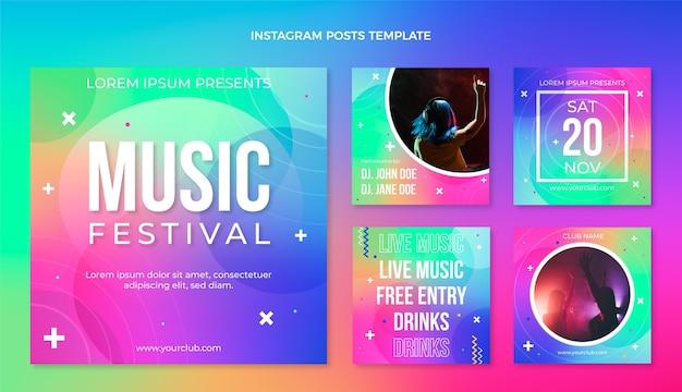 Gradiente colorido festival de música publicaciones de instagram
