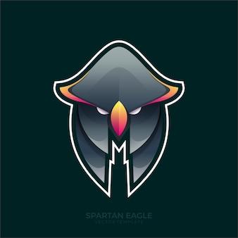 Gradiente colorido de la ilustración del vector espartano del águila