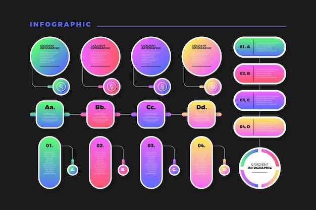 Gradiente colorido infografía con diseño organizado