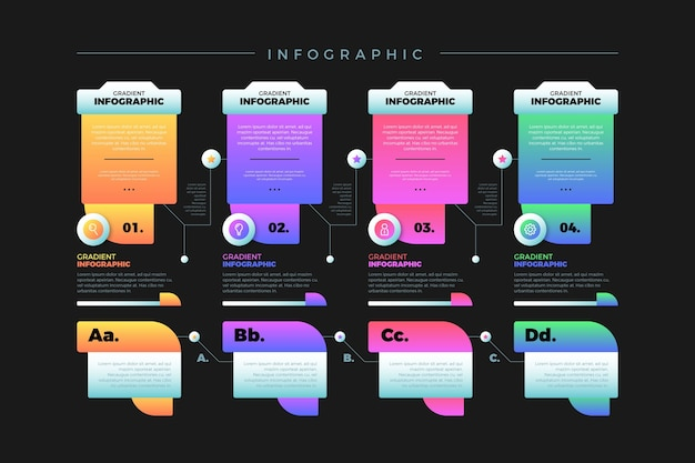 Gradiente colorido infografía con varios cuadros de texto