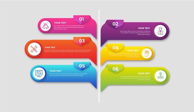 Gradiente colorido infografía