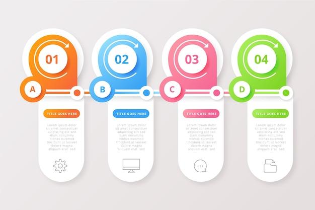Gradiente colorido infohraphic con detalles