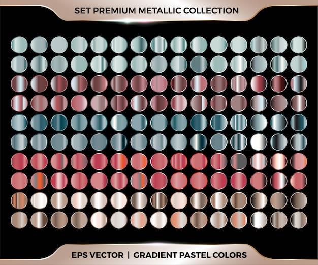 Gradiente colorido de moda, combinación de oro rosa, rojo, verde, marrón mega set colección de paletas de colores pastel de metal