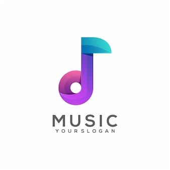 Gradiente colorido de la música de la ilustración del logotipo