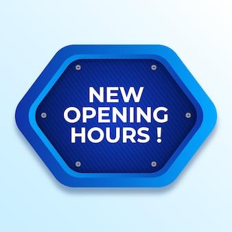 Gradiente creativo nuevo cartel de horario de apertura