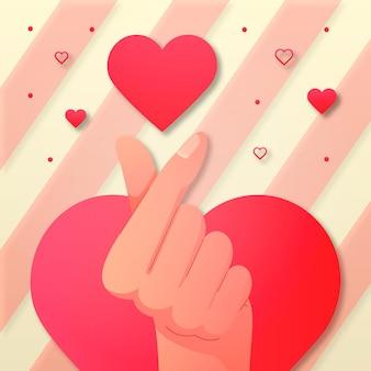 Gradiente dedo corazón