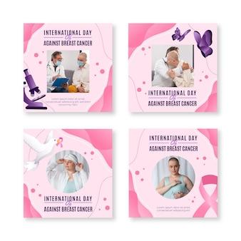 Gradiente día internacional contra el cáncer de mama colección de publicaciones de instagram con foto