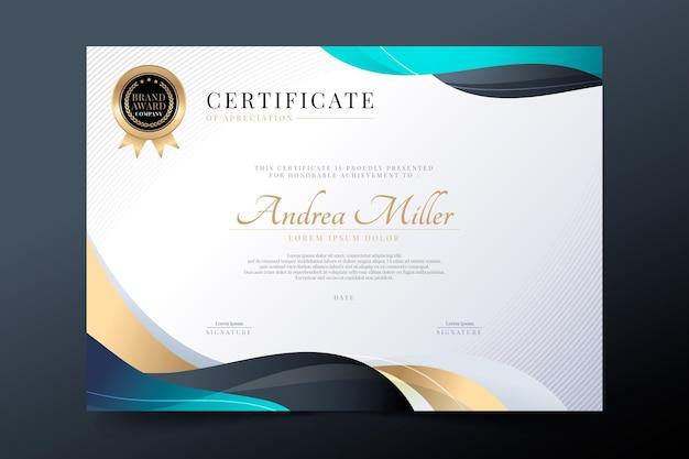 Gradiente elegante certificado de agradecimiento.