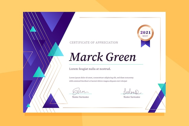 Gradiente elegante certificado de reconocimiento.