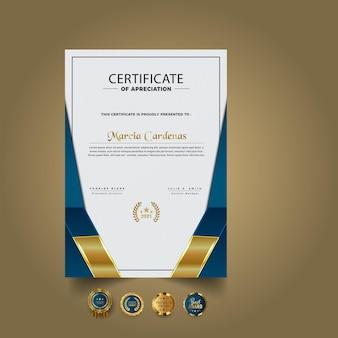 Gradiente elegante plantilla de certificado nuevo diseño Vector Premium