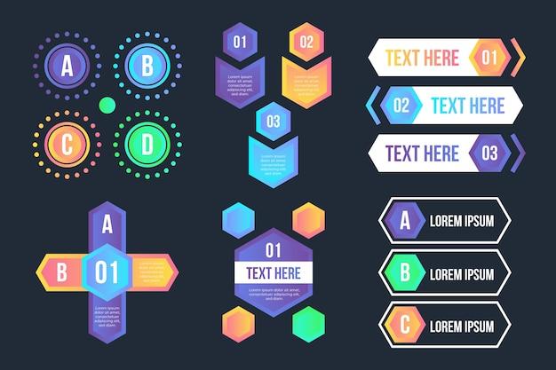 Gradiente de elementos de infografía