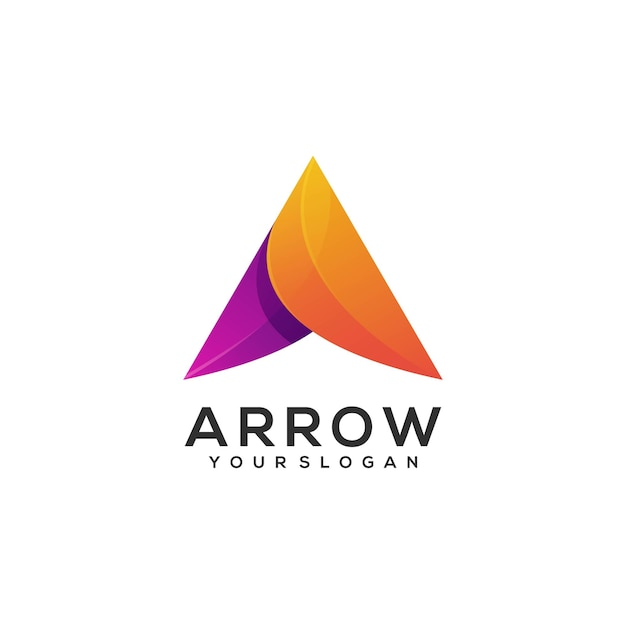 Gradiente de flecha de ilustración de logotipo colorido