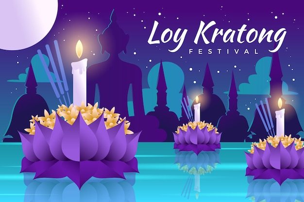 Gradiente de flor de loto loy krathong y velas en la noche