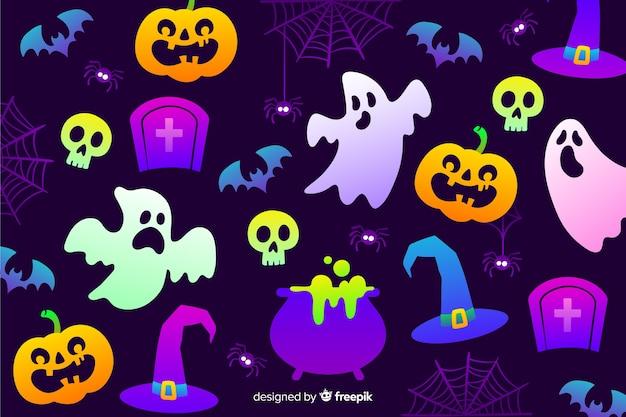 Gradiente de fondo de elementos de halloween