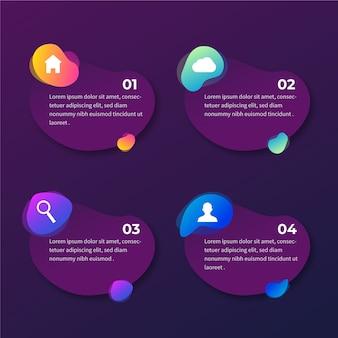 Gradiente de forma abstracta infografía con iconos