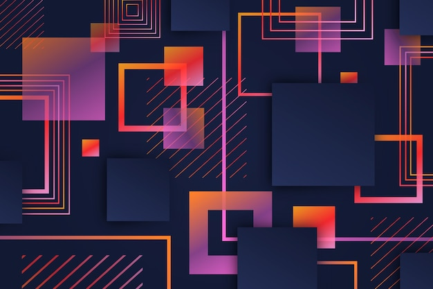 Gradiente de formas cuadradas geométricas sobre fondo oscuro