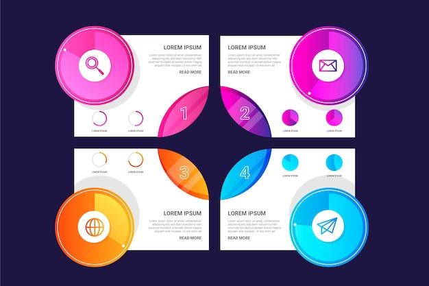 Gradiente harvey ball diagramas infografía