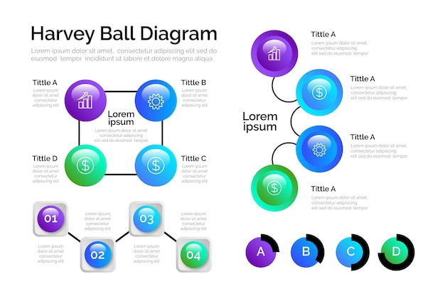 Gradiente harvey ball diagramas infografía