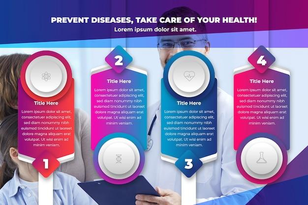 Gradiente infografía médica con foto