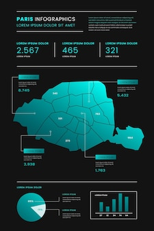 Gradiente de infografías de mapa de parís