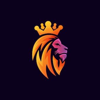 Gradiente león rey cabeza logo premium vector