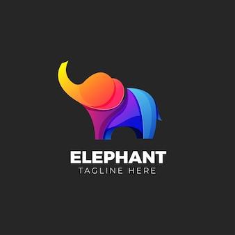 Gradiente de logo de elefante colorido