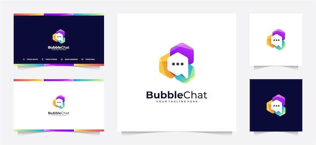 Gradiente de logotipo de chat de burbuja abstracta y tarjeta de visita