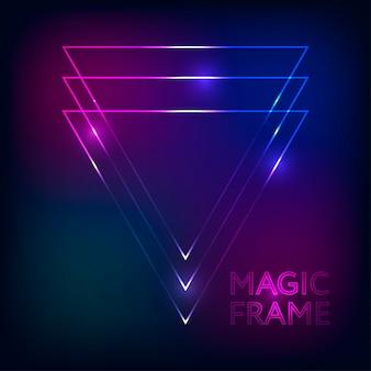 Gradiente de marco mágico vector abstracto luces líneas texto diseño marco fondo oscuro