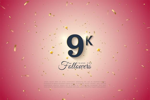 Gradiente en el medio del fondo para agradecer a los seguidores de 9k