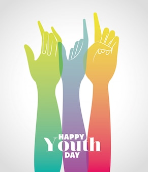Gradiente multicolor manos arriba de feliz día de la juventud, ilustración de tema de vacaciones jóvenes y amistad