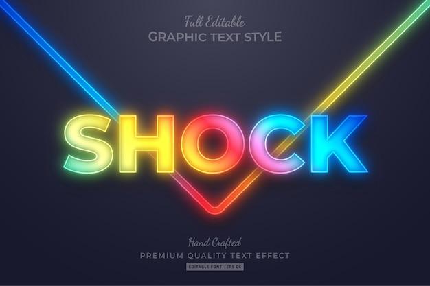 Gradiente neon glow efecto de estilo de texto editable premium