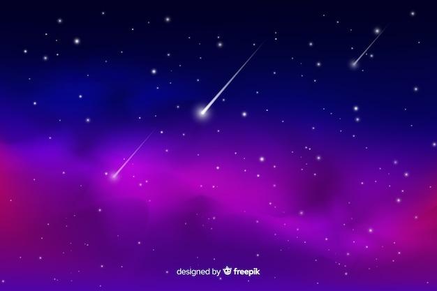 Gradiente noche estrellada con fondo de estrella fugaz