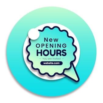 Gradiente nuevo cartel de horario de apertura