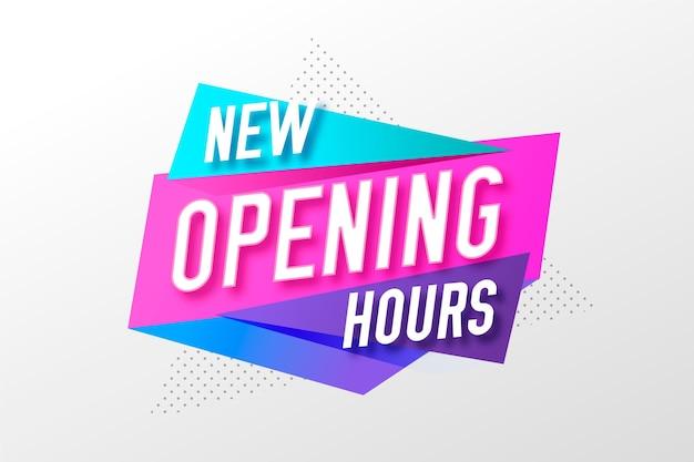 Gradiente nuevo fondo de signo de horario de apertura