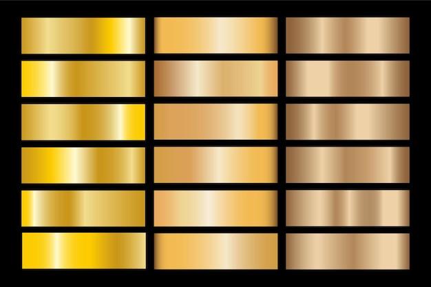 Gradiente de oro establece ilustración metálica de textura de icono de vector de fondo para marco, cinta, banner, moneda y etiqueta. patrón transparente de diseño dorado abstracto realista. plantilla elegante de luz y brillo