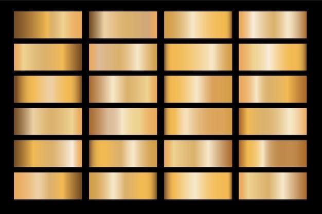 Gradiente de oro establece ilustración metálica de textura de icono de vector de fondo para marco, cinta, banner, moneda y etiqueta.