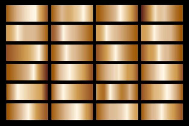 Gradiente de oro establecer ilustración metálica de textura de icono de fondo para marco, cinta, banner, moneda y etiqueta. patrón transparente de diseño dorado abstracto realista.