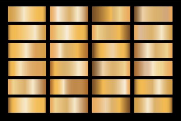 Gradiente de oro establecer textura de fondo metálico.