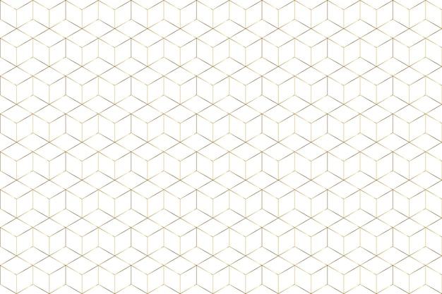 Gradiente de oro hexágono línea geométrica fondo blanco.