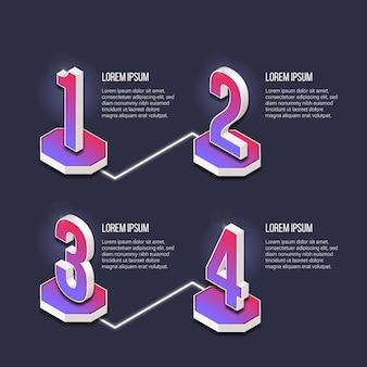 Gradiente de pasos de infografía de plantilla