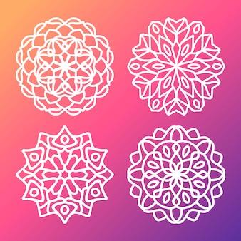 Gradiente patrón de mandala vector pack