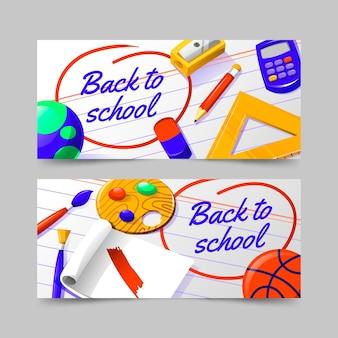 Gradiente de regreso a la escuela conjunto de banners horizontales.