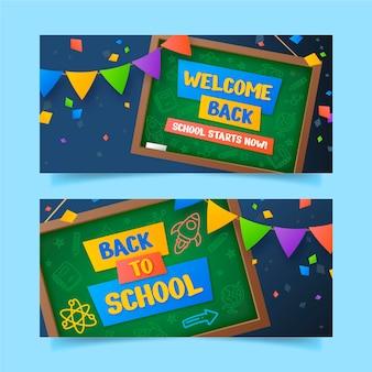 Gradiente de regreso a la escuela conjunto de banners.